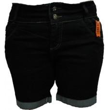 Bermuda Jeans Feminina c/ Strech (Lycra) Preta - Black - 44 - 46 - 48 - 50 - 52 - 54 - 56 - 58 - 60 - 62